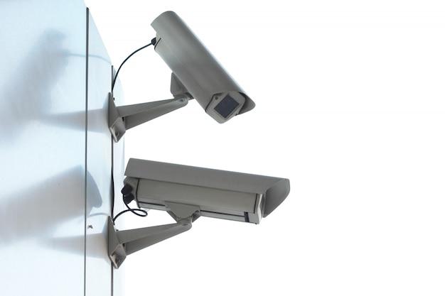 セキュリティcctvカメラのシルエット。