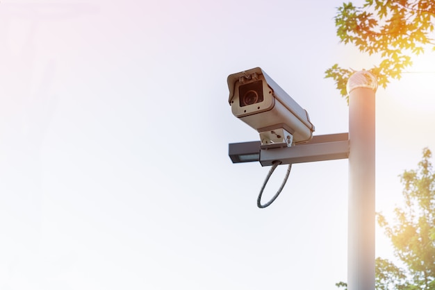 木と空の背景に屋外のセキュリティcctvモニタの白色