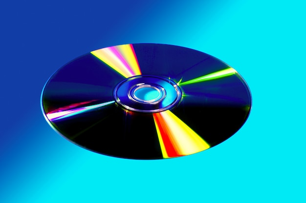 Cd dvd disk with colorful reflexion