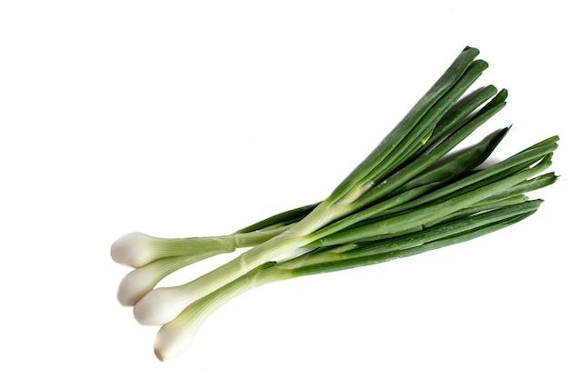 Cebollas o cebollines con tallo sobre fondo blanco