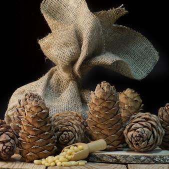 Cedar still life on the table, healthy food, natural entourage