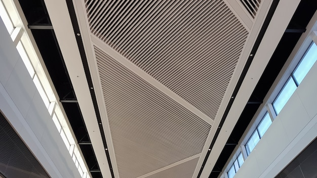 天井仕上げ。格子状の白い吊り天井、商業ビルの室内装飾。照明付きのショッピングモールの天井のインテリア。