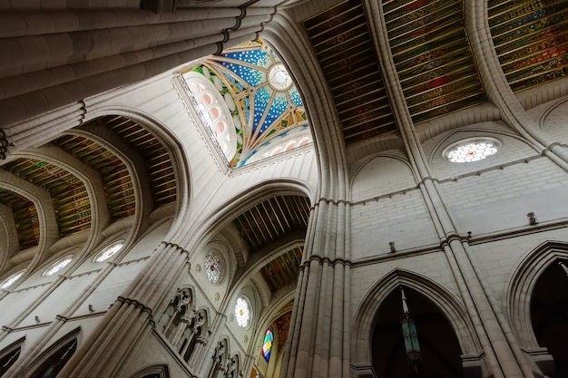 Ceiling in interior of almudena cathedral