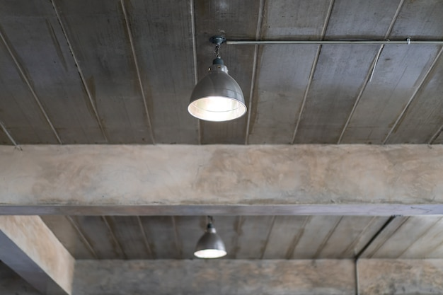 Ceiling lamp in the building that decorated in loft and industrial style close up.