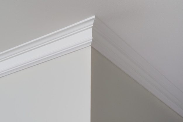Ceiling moldings in the interior, a detail of corner