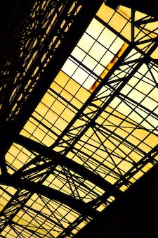 Ceiling with skylight window of old industrial building