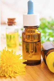 Celandine dandelion extract in a littel bottle, treatment, medicine, tincture. selective focus.nature