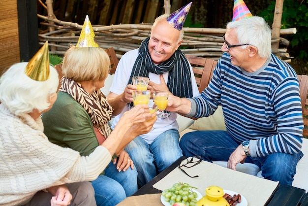 Celebrating birthday with friends