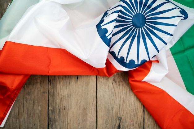 Celebrating india independence day india flag on wood