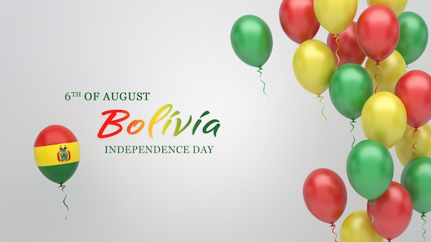 Celebration banner with balloons in bolivia flag colors.