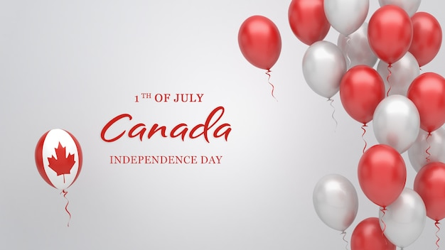 Celebration banner with balloons in canada flag colors.