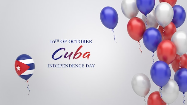 Celebration banner with balloons in cuba flag colors.