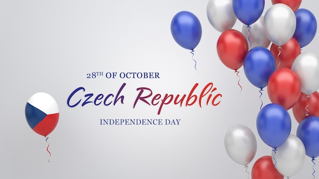 Celebration banner with balloons in czech republic flag colors.