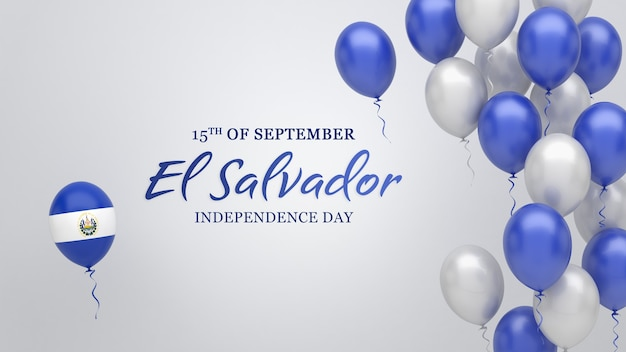 Celebration banner with balloons in el salvador flag colors.