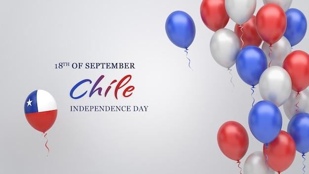 チリの国旗の色の風船とお祝いのバナー。