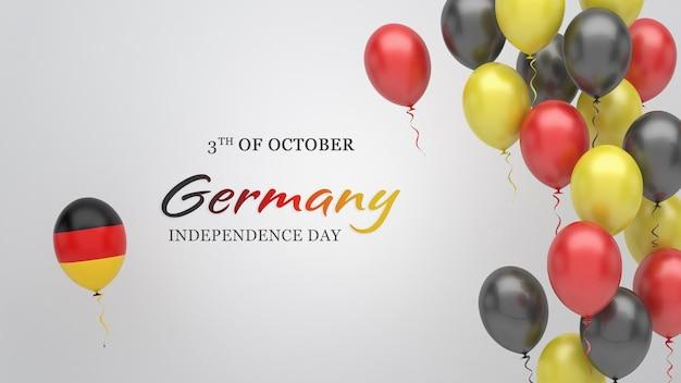 Празднование баннер с воздушными шарами в цветах флага германии.