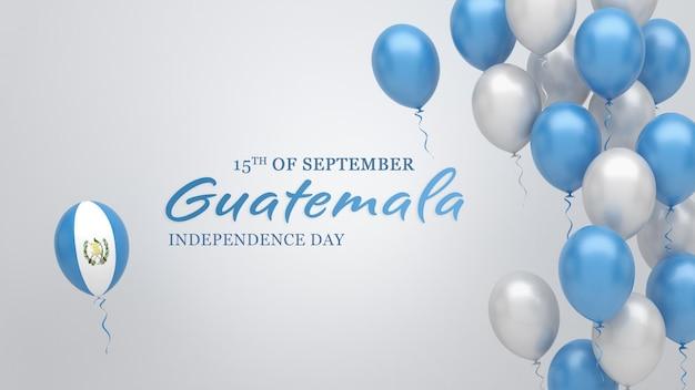 グアテマラの国旗の色の風船とお祝いのバナー。