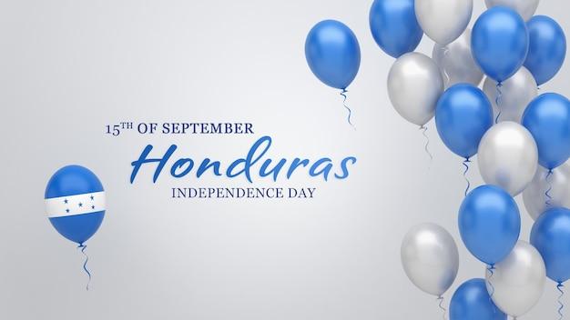 Празднование баннера с воздушными шарами в цветах флага гондураса.