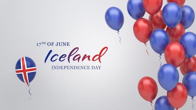 Празднование баннер с воздушными шарами в цветах флага исландии.