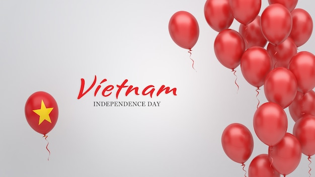 Celebration banner with balloons in vietnam flag colors.