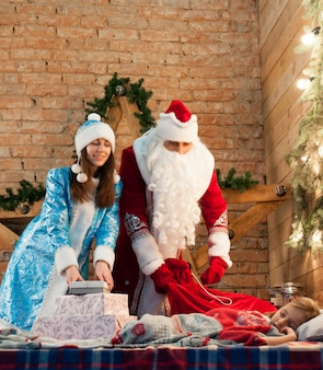 Celebration, christmas, new year, winter time, holiday, santa claus, snowmaiden, childhood