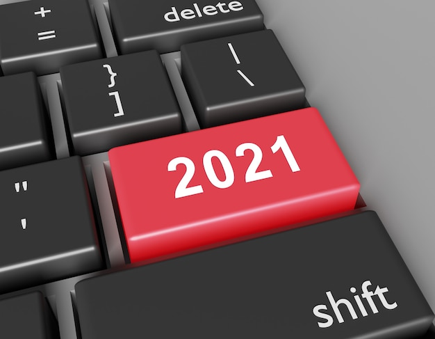 Celebration concept. number 2021 you on button of computer keyboard