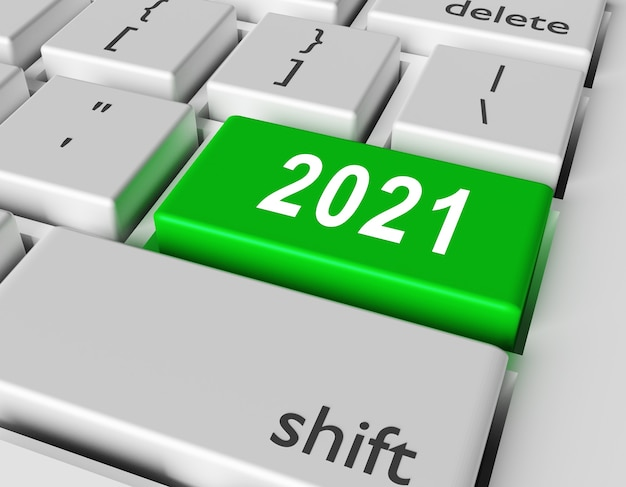 Celebration concept. number 2021 you on button of computer keyboard Premium Photo