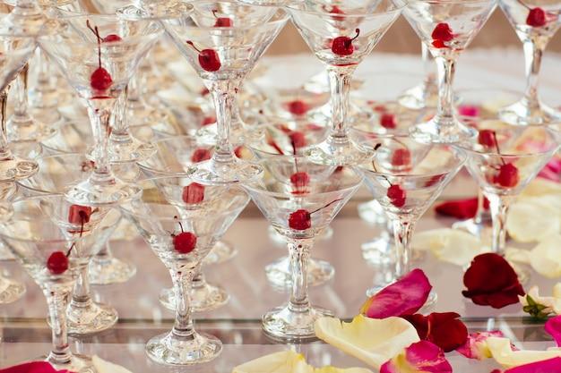 Celebration pyramid of champagne glasses