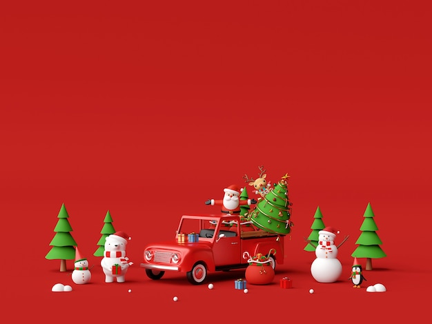 Celebration with christmas truck and santa claus 3d rendering