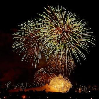 夜空のお祝いのカラフルな明るい花火