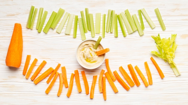 Celery and carrot arrangement