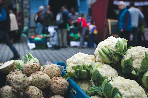 Celery and cauliflower at farmers market