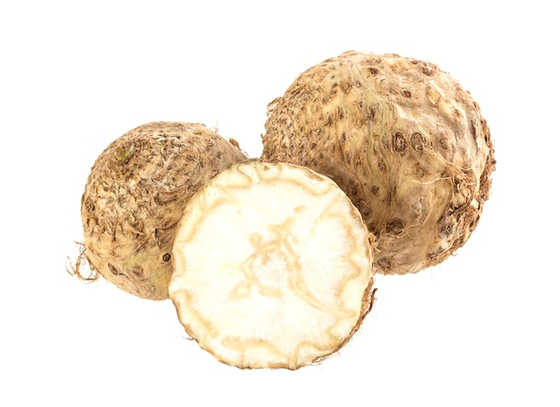 Celery root isolated on white
