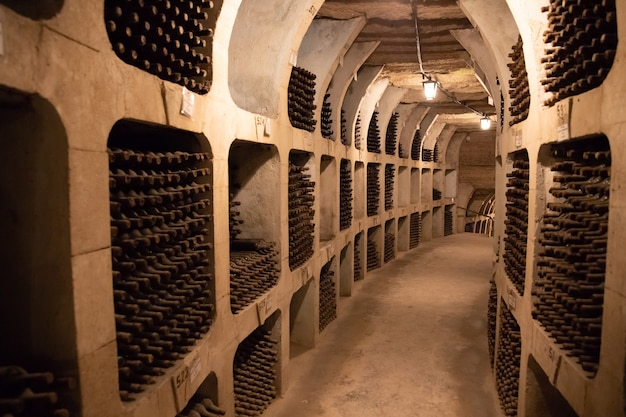 ワインのボトルが入ったセラー古いヴィンテージワインのボトルが入った古代のワイン貯蔵庫