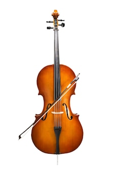 Cello isolated on wihte symphonic music