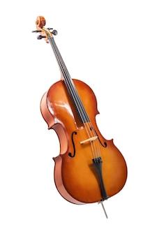 チェロまたはヴァイオリンがwihteで分離されました Premium写真