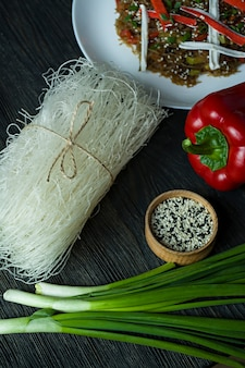 Cellophane noodles decorated with vegetables