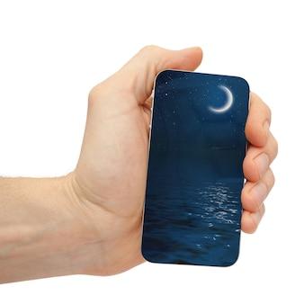 광고를 위해 손에 핸드폰 아이폰 태블릿