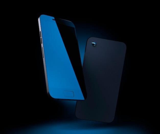 휴대폰 모형 휴대폰 3d 렌더링 스마트폰은 파란색 백라이트가 있는 어두운 배경에 있습니다.