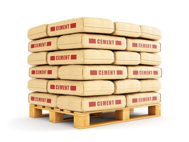 Мешки с цементом штабелируются на деревянном поддоне. бумажные мешки, изолированные на белом фоне.