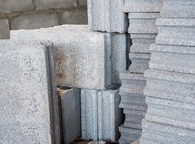 Cement block stack.