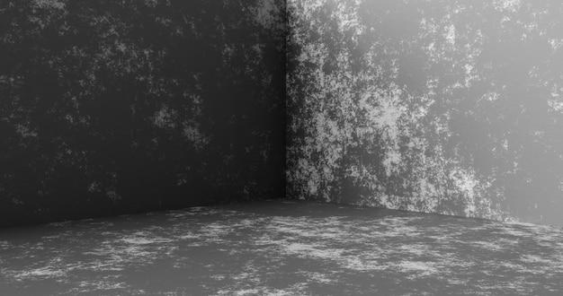Цементный угловой фон стены комнаты или пустой бетонный фон продукта текстуры на дисплее пола дизайна студии интерьера grunge с перспективной сценой шаблона каменного материала. 3d-рендеринг.