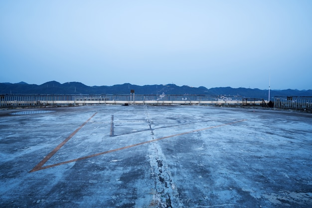 Cement floor on roof, helicopter apron