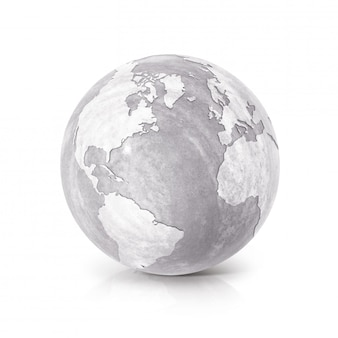 Cement globe 3d illustration north and south america map on white isolated