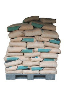 Cement powder bags stacked isolated on white background