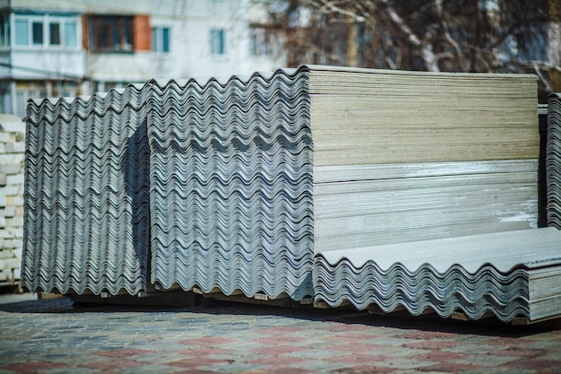 Cement roofing sheets in the backyard