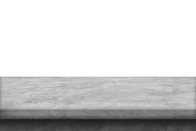 Цементный полочный стол, изолированный на белом фоне для демонстрации продуктов