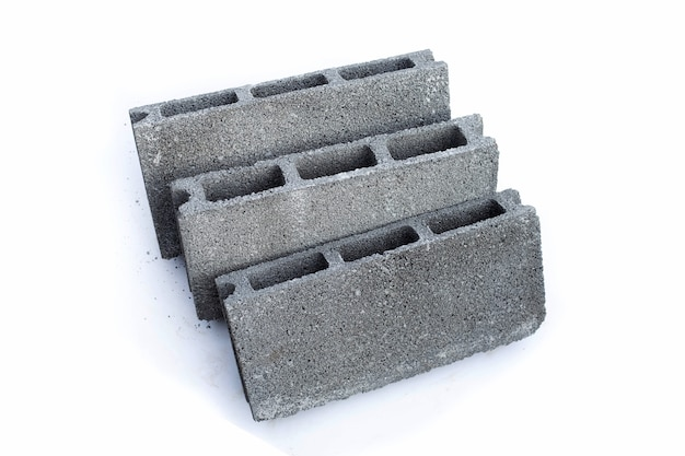 Cement solid brick block on white background