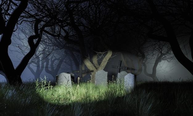 Кладбище в ужасающем лесу