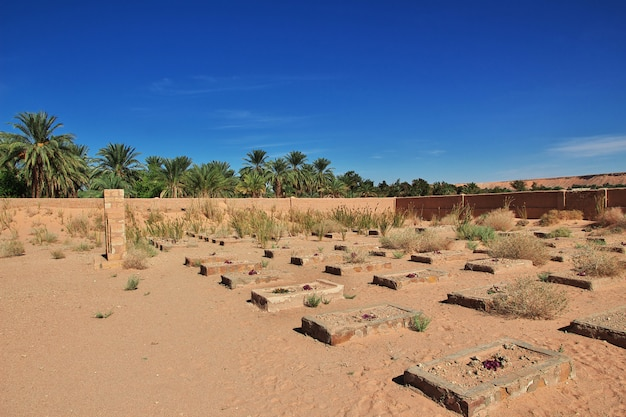 Cemetery in the sahara desert in the heart of africa